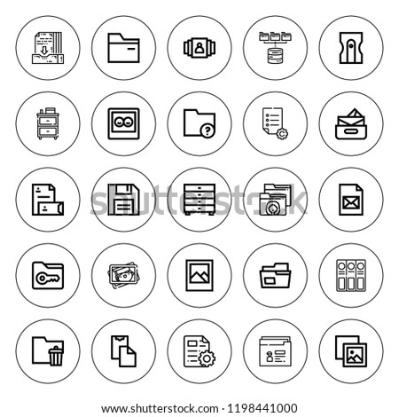 Folder icon set. collection of 25 outline folder icons with archive, cabinet, diskette, drawers, file, gallery, folder, folders, inbox, paste clipboard icons. editable icons.