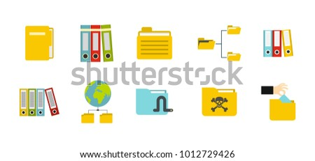 Folder icon set. Flat set of folder vector icons for web design isolated on white background