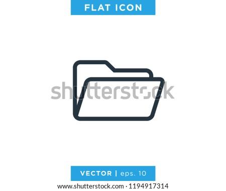 Folder Icon Vector Line Logo Design Template.