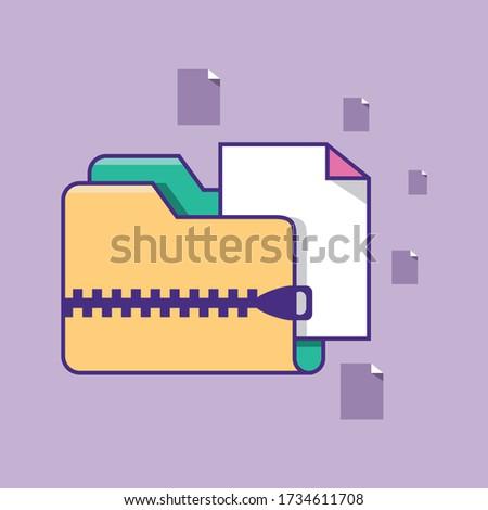 Folder icon. Zipped compressed file or folder vector illustration. Zip folder archive directory