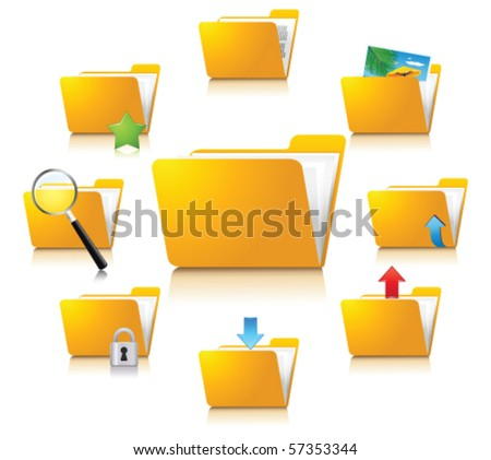 Folder icons - stock vector