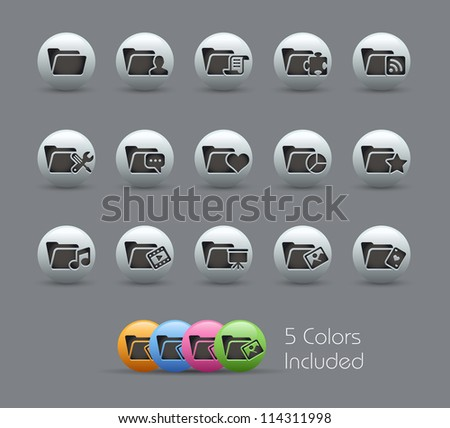 Folder Icons - 2 of 2 // Pearly Series -------It includes 5 color versions for each icon in different layers ---------