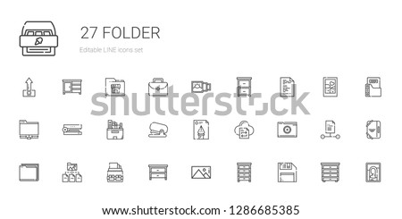 folder icons set. Collection of folder with diskette, drawer, picture, portfolio, file transfer, file, stapler, files, ftp, upload, cabinet. Editable and scalable folder icons.