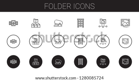 folder icons set. Collection of folder with picture, file, stapler, drawer, cloud folder. Editable and scalable folder icons.