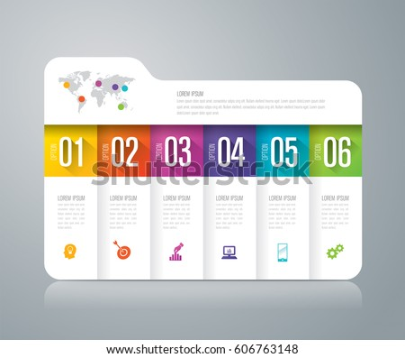 Folder infographics design vector and marketing icons can be used for workflow layout, diagram, annual report, web design. Business concept with 6 options, steps or processes.