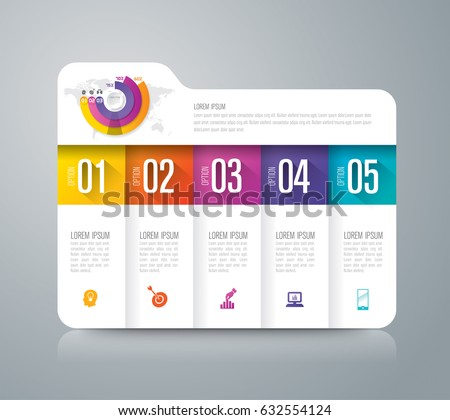 Folder infographics design vector and marketing icons can be used for workflow layout, diagram, annual report, web design. Business concept with 5 options, steps or processes.