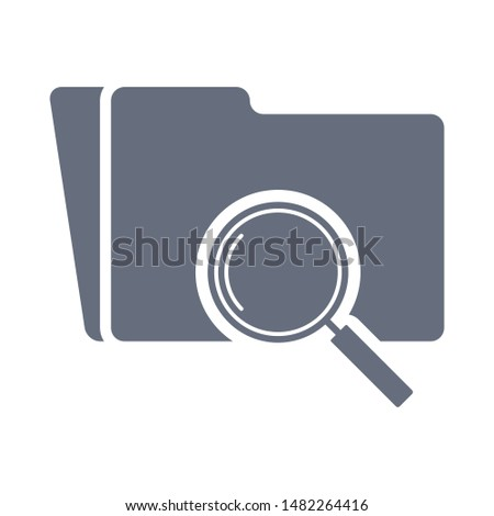 Folder search icon vector. Magnifying glass or search icon. Search icon vector.