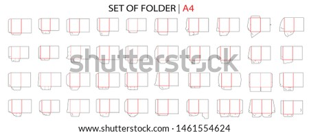 Folder set die cut stamp. Empty shablon folder template for A4 documents and business card with lock. Vector black isolated circuit, presentation line folders on white background.