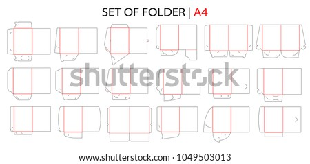 Folder set with gusset die cut stamp. Empty shablon template for A4 documents and business card with lock. Vector black isolated circuit, line folder on white background.  Stock foto ©