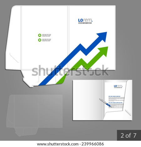 Folder template design for company with blue and green arrows. Element of stationery.