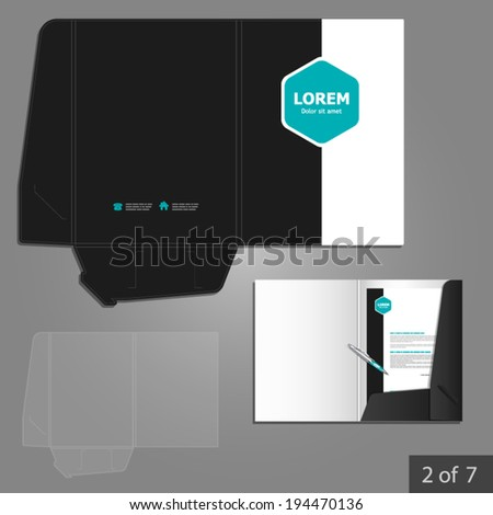 Folder template design for company with blue square elements. Element of stationery.