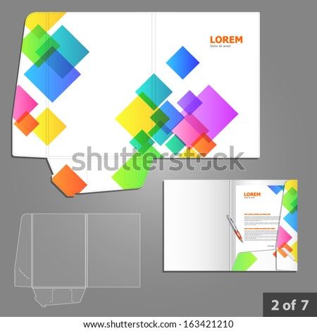 Folder Template Design For Company With Color Square Elements. Element Of Stationery.
