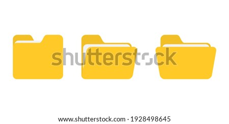 Folder vector icon. Open folder icon. Folder with documents on white background, vector