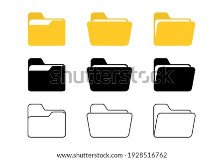 Folder vector icon. Open folder icon. Folder with documents on white background, vector Foto stock ©