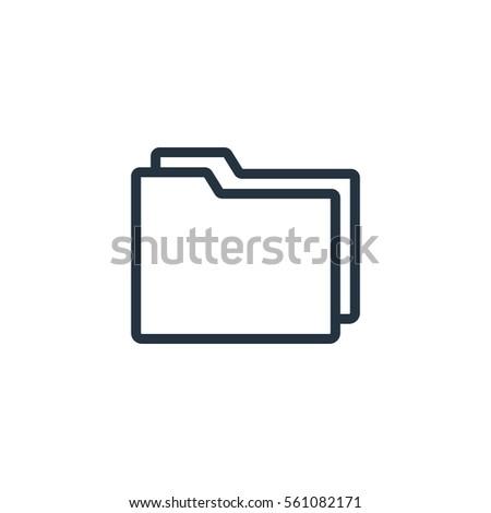 folder web thin line icon on white background;  minimalistic office