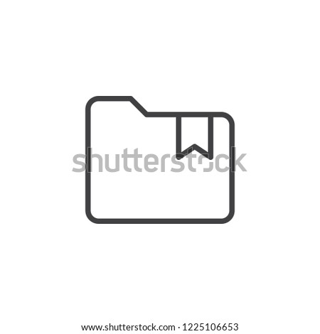 Folder with bookmark outline icon. linear style sign for mobile concept and web design. Bookmarked folder simple line vector icon. Symbol, logo illustration. Pixel perfect vector graphics