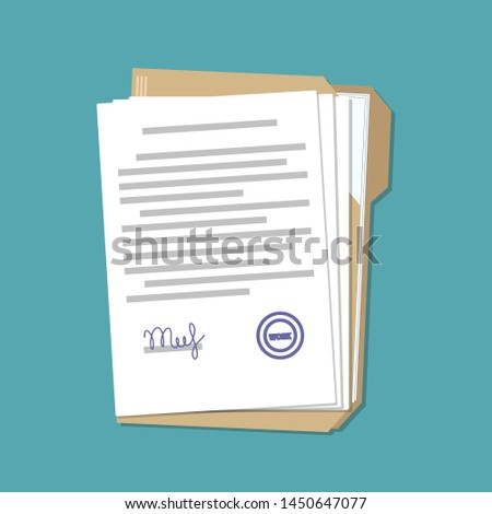 Folder with business paper documents on blue in flat style, stock vector illustration