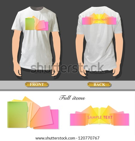 Folder with colorful sheets printed on white shirt. Vector design.