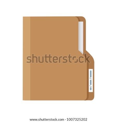 Folder with Document. Flat design vector illustration
