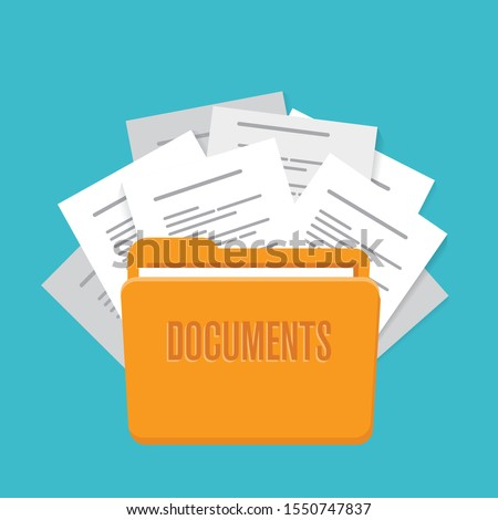 folder with documents, vector illustration