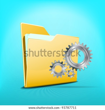 Folder with files and working wheels