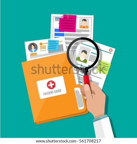 Folder with patient card and doctors hand with magnifying glass. medical report. analysis or prescription concept. vector illustration in flat style.