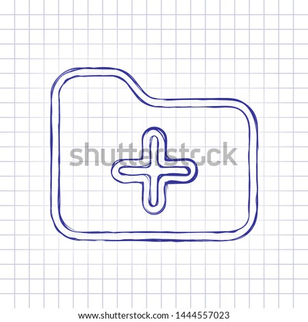 Folder with plus mark, outline linear business icon. Hand drawn picture on paper sheet. Blue ink, outline sketch style. Doodle on checkered background