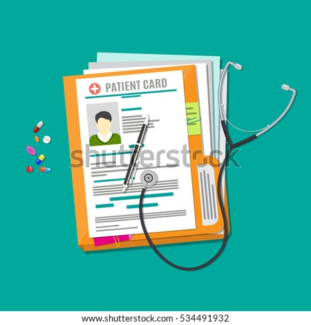 Folder woth documents, stethoscope, pills, pen. patient card. medical report. analysis or prescription concept. vector illustration in flat style