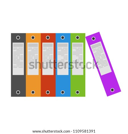 Folders file order realistic paper sign vector. Documents business icon management office data. Technology information archive isolated design. Illustration design isolated organize finance doc stack.