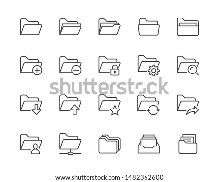 Folders flat line icons set. File catalog, document search, folder synchronization, local network vector illustrations. Outline minimal signs for web site. Pixel perfect. Editable Strokes.