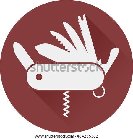 folding army knife flat icon