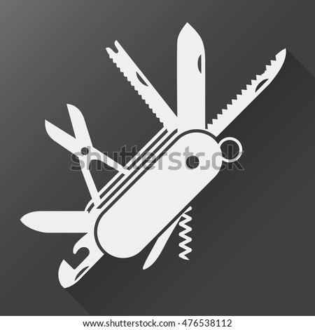 folding knife flat icon vector