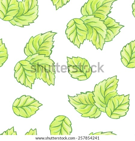 Foliage background. Green leaves seamless pattern. Watercolor painting - vector