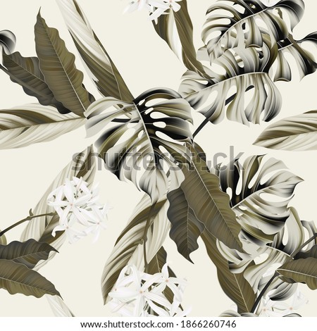 Foliage seamless pattern, heliconia Ctenanthe oppenheimiana plant and Split-leaf Philodendron in brown on bright brown
