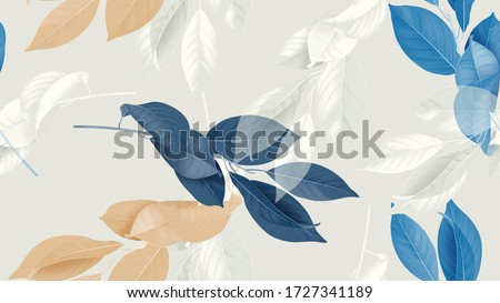 Foliage seamless pattern, various leaves in blue, brown and white on bright grey