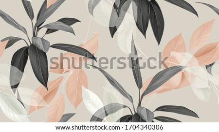 Foliage seamless pattern, various leaves in brown, black and white on bright brown