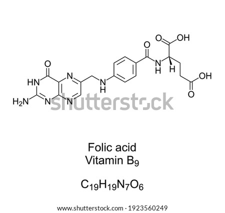 Folic acid, vitamin B9, chemical formula and structure. Converted by the body to folate. Used as dietary supplement, in food fortification, to treat anemia, and during pregnancy. Illustration. Vector. Photo stock ©