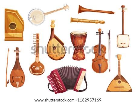 Folk music instruments watercolor icons of string, wind and percussion. Ethnic sitar, balalaika and djembe drum, banjo, viola and flute, zither, accordion, shamisen and bandura symbols