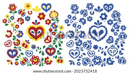 Folklore elements colorful and blue set Foto d'archivio ©