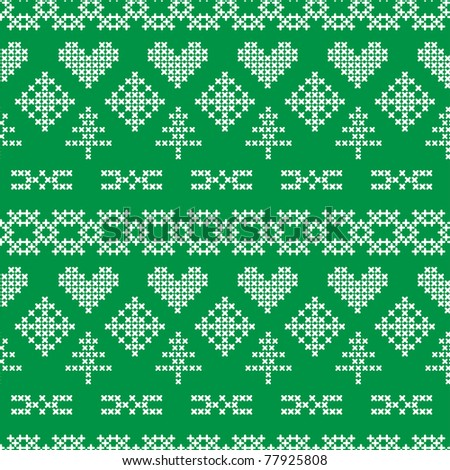 Folklore seamless pattern on green background