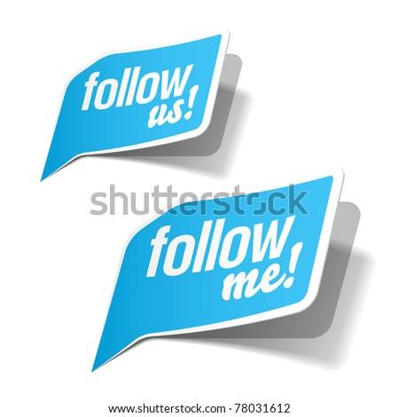 Follow me and follow us bubbles. Vector.