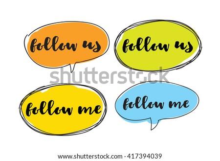 follow me  follow us labels for