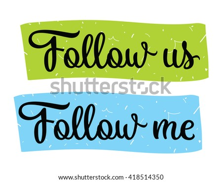 follow me  follow us labels set