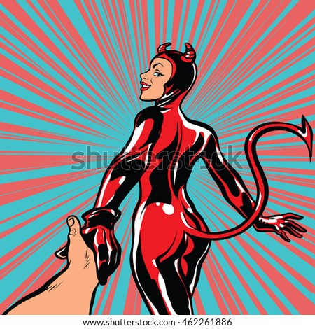 follow me, girl devil demon temptation, pop art retro comic book vector illustration Stock photo ©