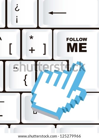 follow me sign, over keyboard with cursor hand. vector