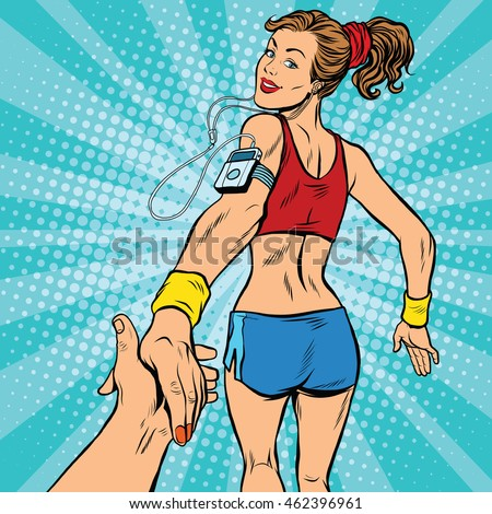 follow me  young woman running
