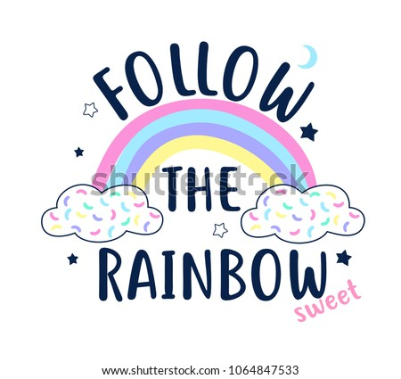 stock-vector-follow-the-rainbow-slogan-and-hand-drawing-rainbow-vector