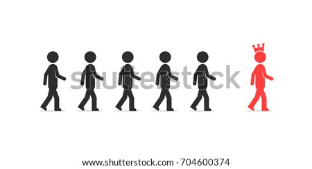 follow to best person like leadership. concept of king together with his retinue or help finding different way. flat simple style trend modern unique logo graphic design isolated on white background
