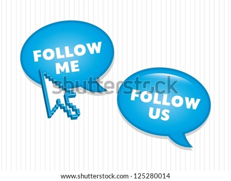 follow us and follow me icons. vector illustration