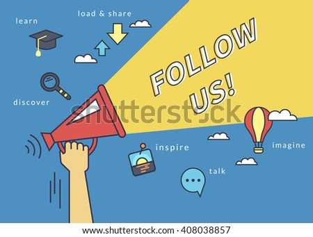 Shutterstock Follow us banner for social networks. Flat line contour illustration of human hand holds red megaphone with yellow speech bubble. Template design on blue background